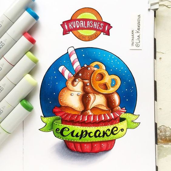 Картинки сладостей и вкусняшек для срисовки в дневник - подборка 11