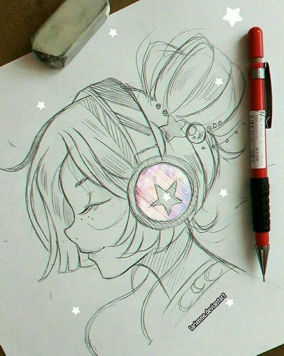 Красивые и милые картинки арт девочек для срисовки - сборка 10