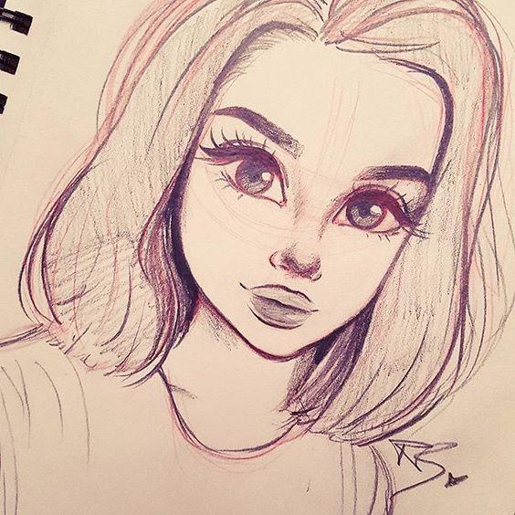 Красивые и милые картинки арт девочек для срисовки - сборка 4
