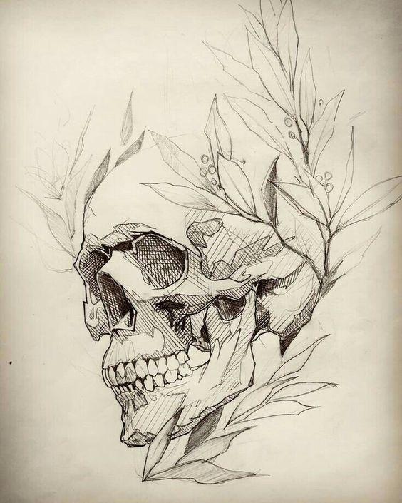 Рисунки и картинки для срисовки череп, черепок - самые прикольные 10