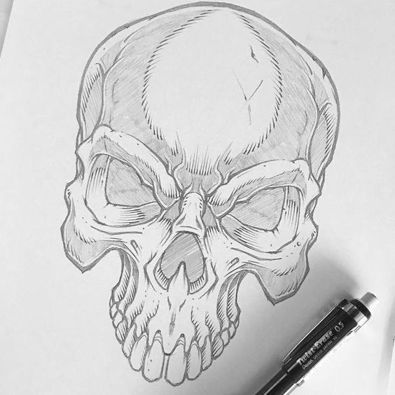 Рисунки и картинки для срисовки череп, черепок - самые прикольные 12