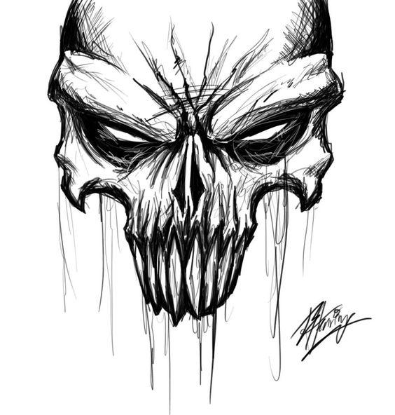 Рисунки и картинки для срисовки череп, черепок - самые прикольные 2
