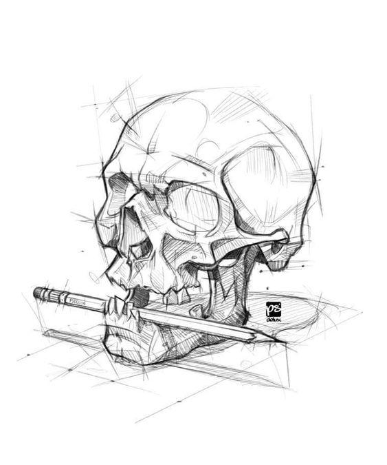 Рисунки и картинки для срисовки череп, черепок - самые прикольные 3