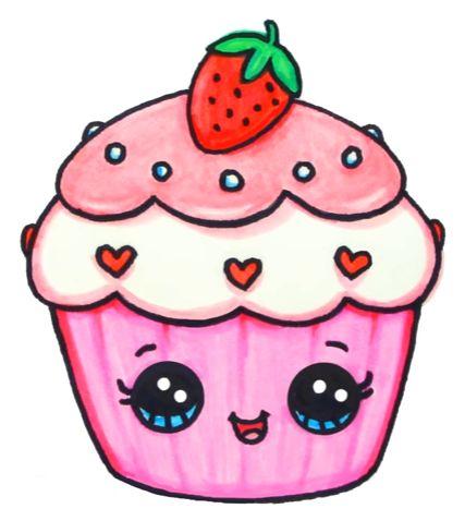 Красивые и милые картинки кексов, пирожных для срисовки 11