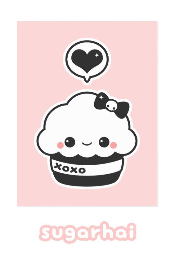 Красивые и милые картинки кексов, пирожных для срисовки 4