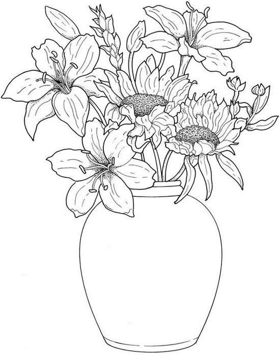 Красивые картинки вазы с цветами и без для срисовки - подборка 8