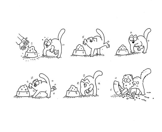 Прикольные и отличные простые картинки для срисовки Коты 1