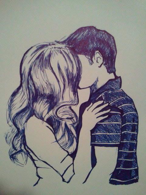 Красивые и милые рисунки карандашом для срисовки поцелуи 10