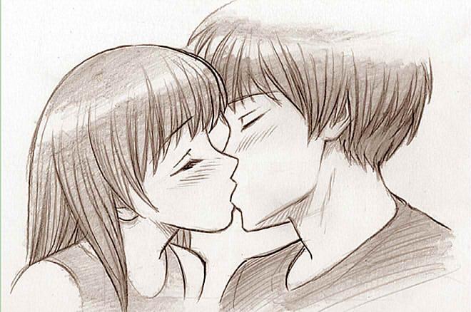 Красивые и милые рисунки карандашом для срисовки поцелуи 19
