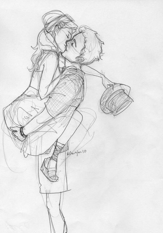 Красивые и милые рисунки карандашом для срисовки поцелуи 5