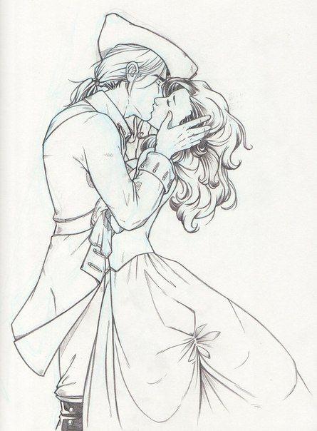 Красивые и милые рисунки карандашом для срисовки поцелуи 7