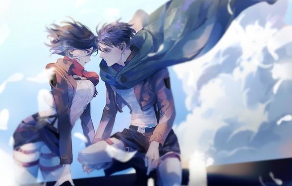 Красивые картинки Микасы и Леви из аниме Атака Титанов 8