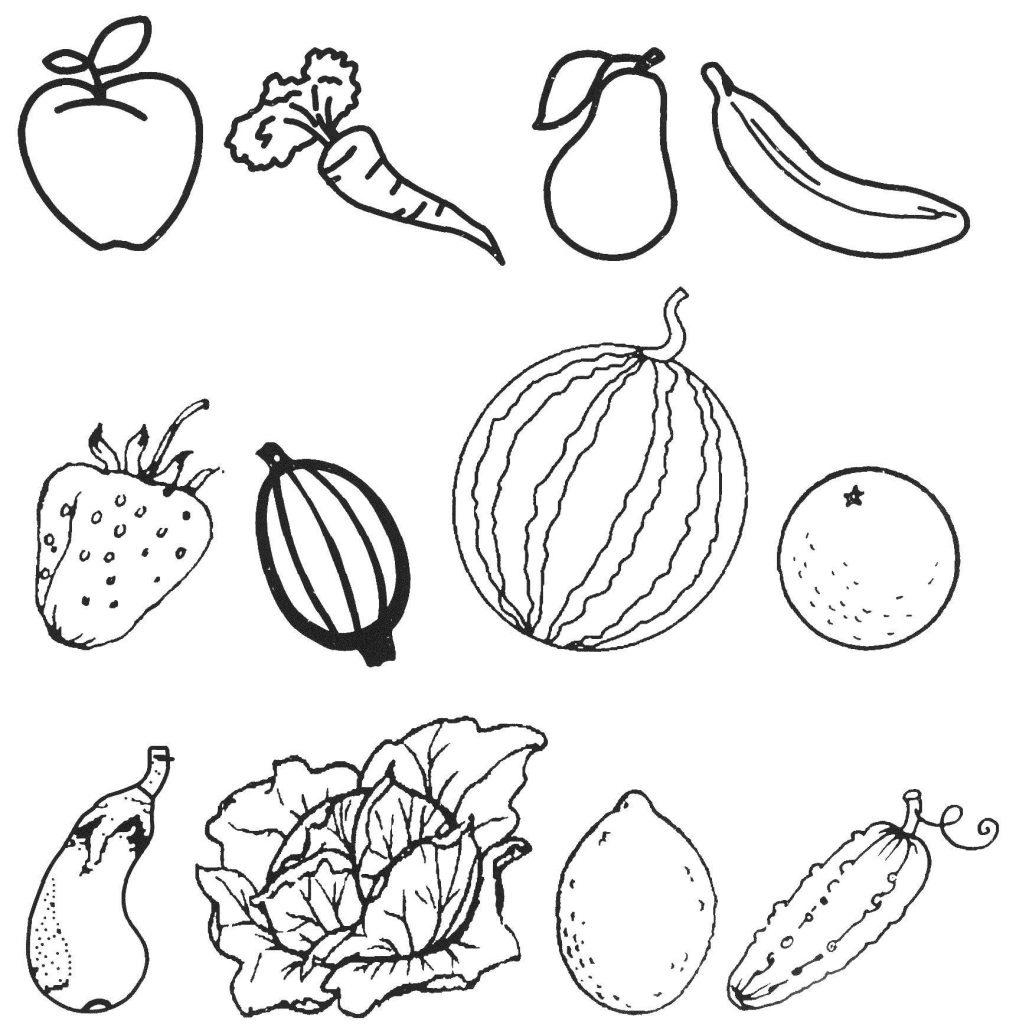 Красивые картинки для раскраски фрукты и овощи - подборка 19