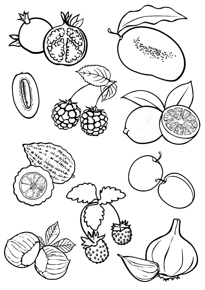 Красивые картинки для раскраски фрукты и овощи - подборка 3