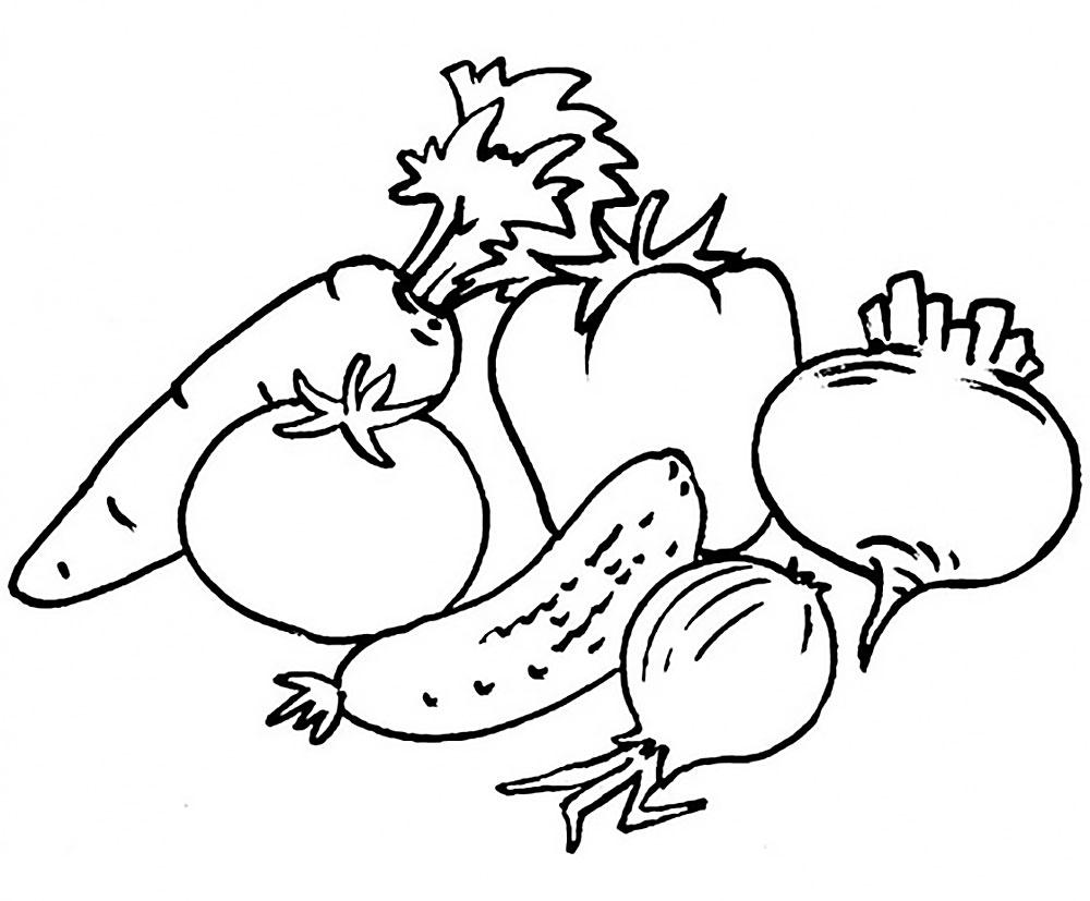 Красивые картинки для раскраски фрукты и овощи - подборка 9