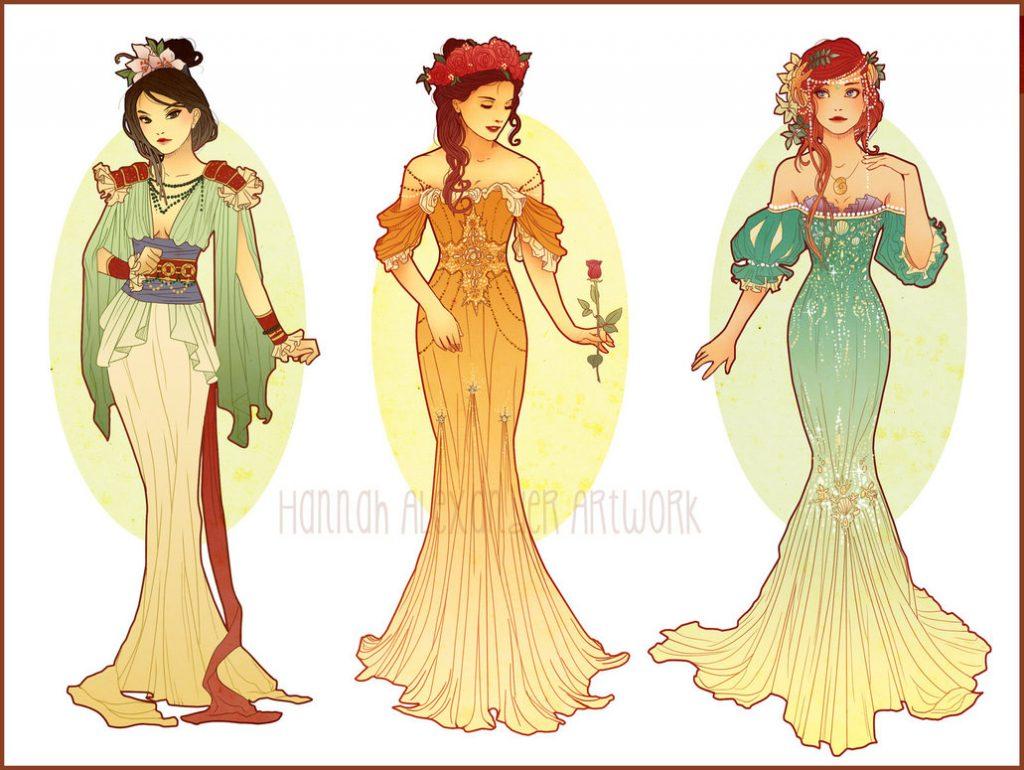 Удивительные и красивые картинки принцесс, принцесс в платьях 17