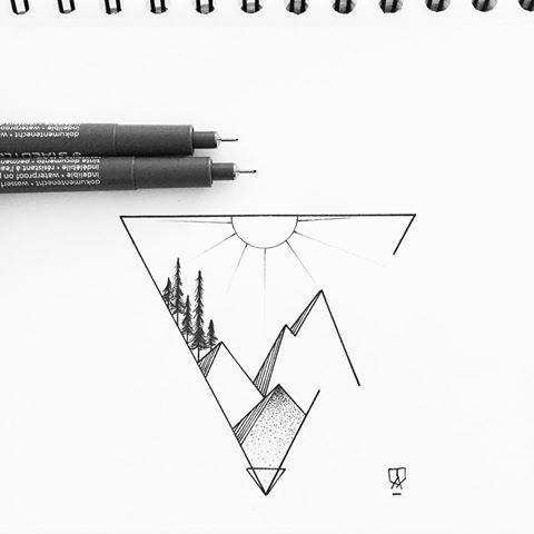 Красивые и прикольные картинки, рисунки гор для срисовки - сборка 1