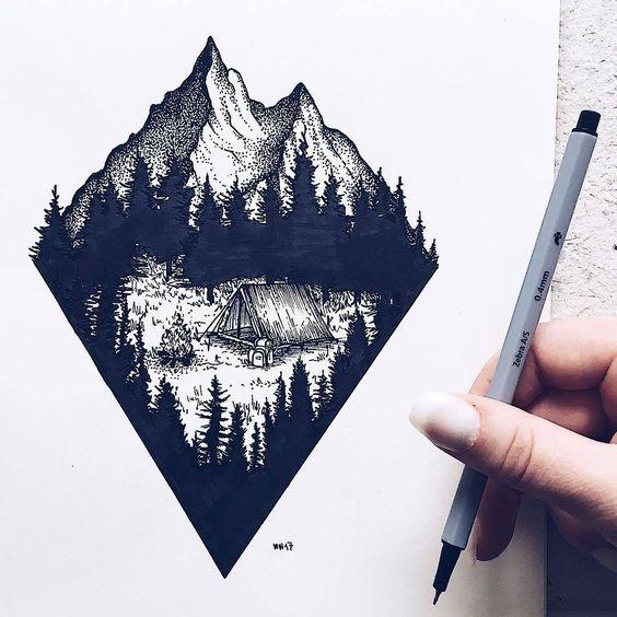 Красивые и прикольные картинки, рисунки гор для срисовки - сборка 11