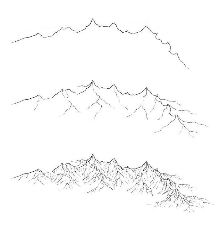 Красивые и прикольные картинки, рисунки гор для срисовки - сборка 15