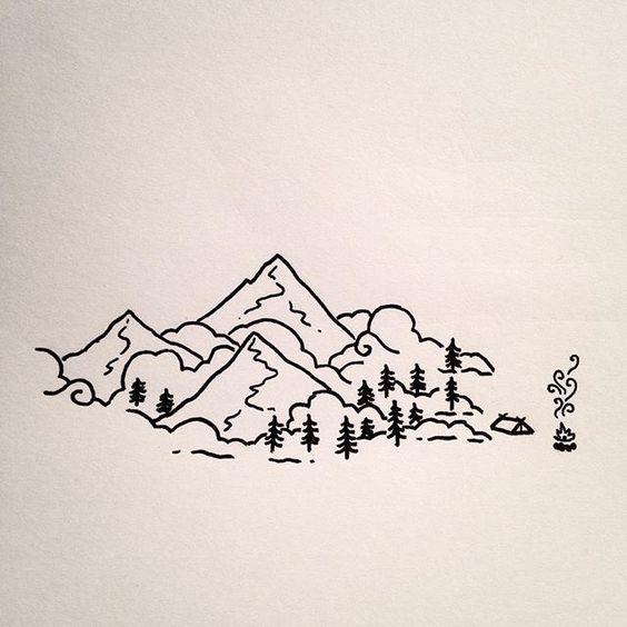 Красивые и прикольные картинки, рисунки гор для срисовки - сборка 2