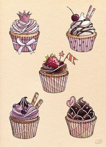 Красивые и прикольные картинки, рисунки капкейки для срисовки 14