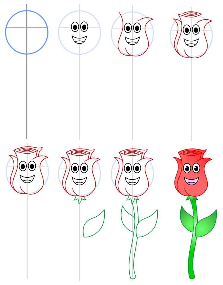 Красивые картинки и рисунки розы для детей - прикольная подборка 3