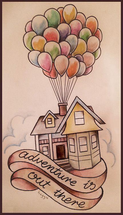 Очень красивые картинки Дом на шариках для срисовки, раскраски - подборка 10