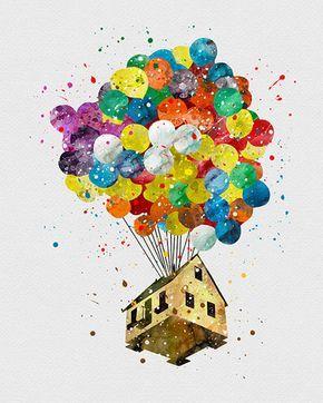Очень красивые картинки Дом на шариках для срисовки, раскраски - подборка 11