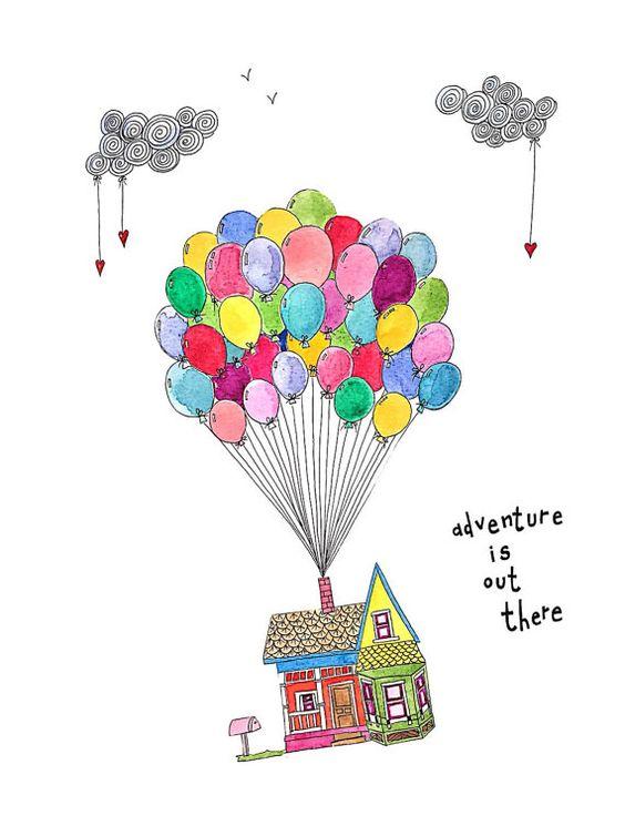 Очень красивые картинки Дом на шариках для срисовки, раскраски - подборка 12