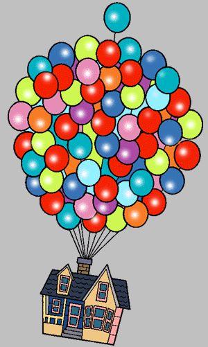 Очень красивые картинки Дом на шариках для срисовки, раскраски - подборка 13