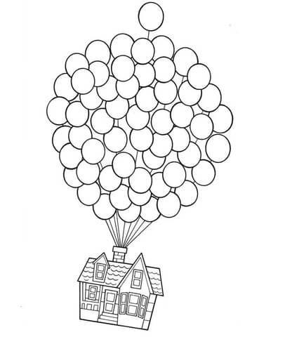 Очень красивые картинки Дом на шариках для срисовки, раскраски - подборка 4