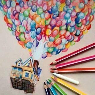 Очень красивые картинки Дом на шариках для срисовки, раскраски - подборка 9