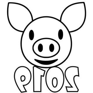 Трафареты на Новый 2019 год Свиньи на окно 8