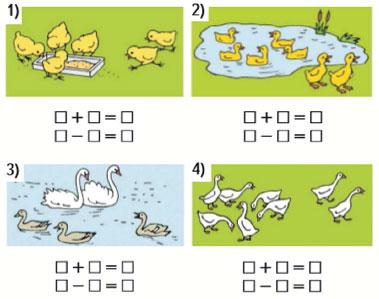 Задачи в картинках для 1 класса по математике в пределах 10 - подборка 2