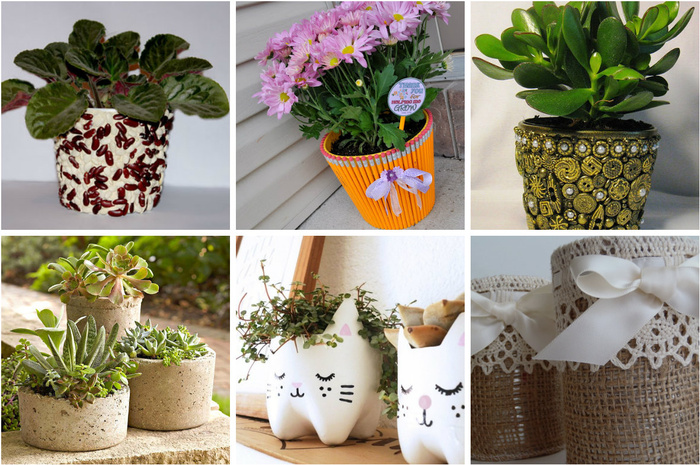 Как оригинально украсить горшок для растений 1