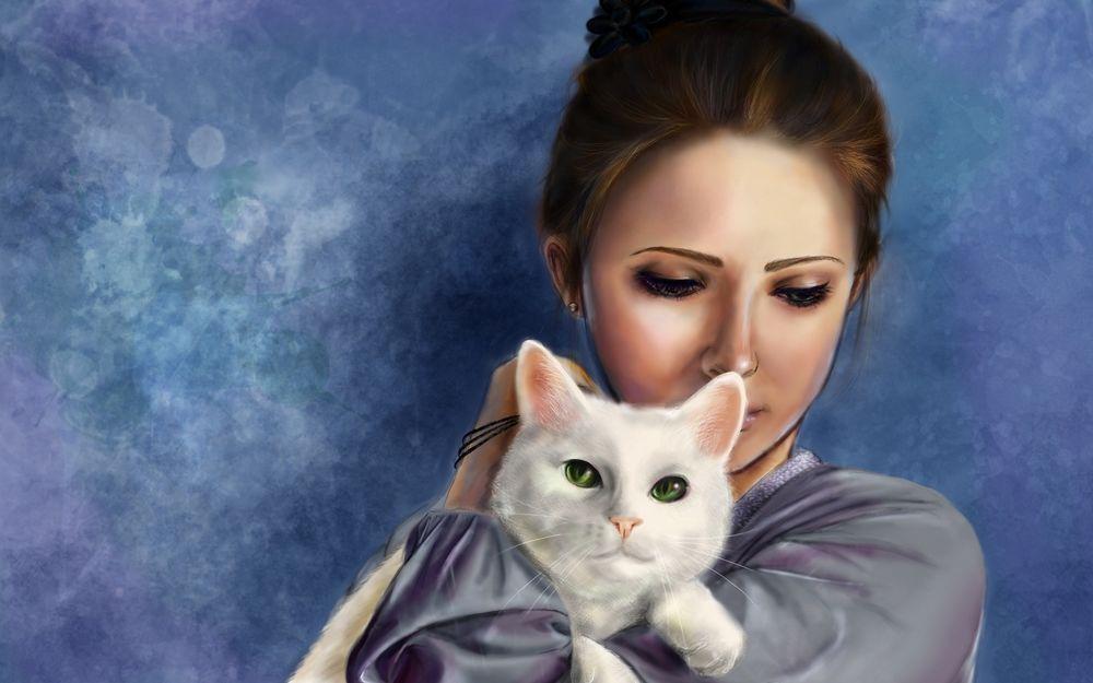 Красивые арты парней и девушек с котами, кошками - подборка 11