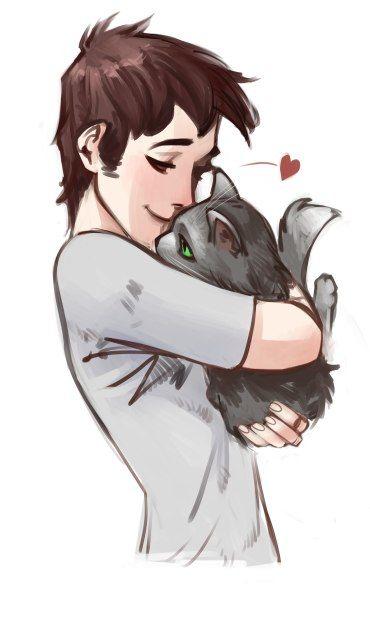 Красивые арты парней и девушек с котами, кошками - подборка 14