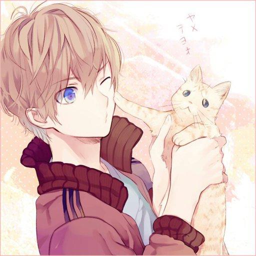 Красивые арты парней и девушек с котами, кошками - подборка 15