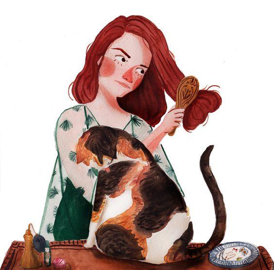 Красивые арты парней и девушек с котами, кошками - подборка 17