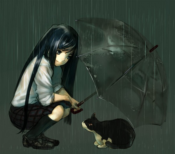 Красивые арты парней и девушек с котами, кошками - подборка 8