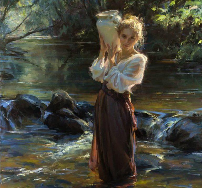 Красивые и интересные картины Девушка с кувшином - сборка 7
