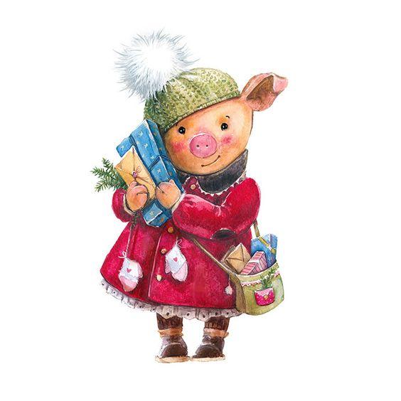 Красивые и прикольные картинки на тему Новогодняя свинья - сборка 4