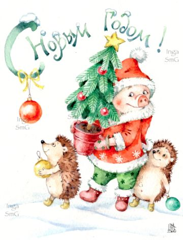 Красивые и прикольные картинки на тему Новогодняя свинья - сборка 6