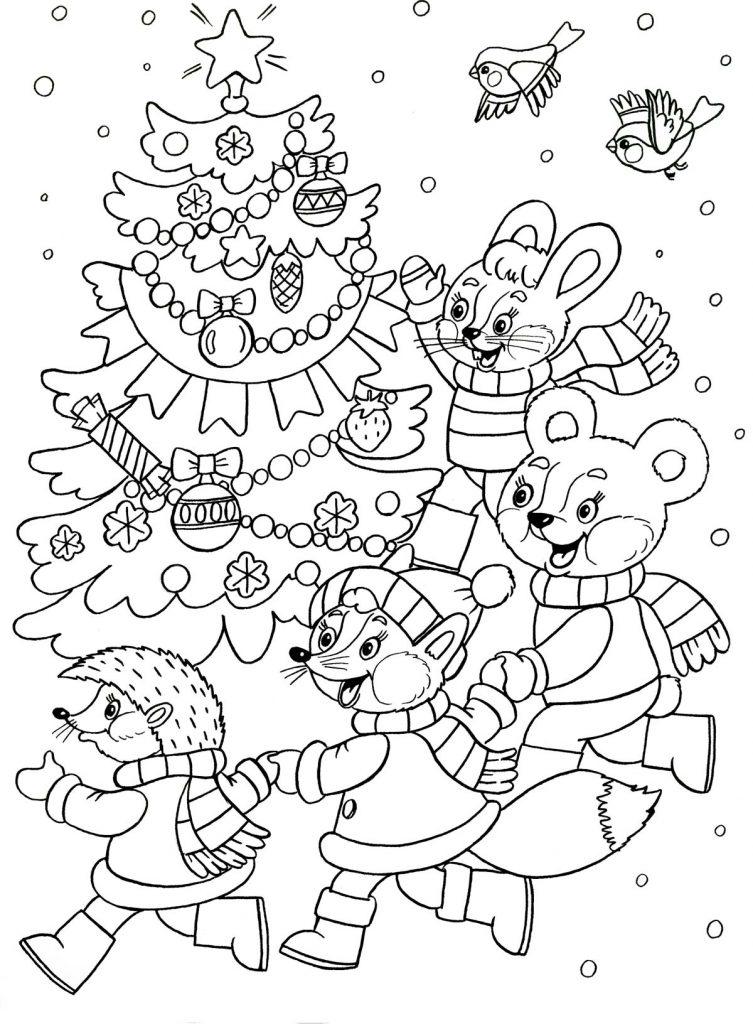 Красивые и прикольные раскраски Новый год 2019 для детей - подборка 7