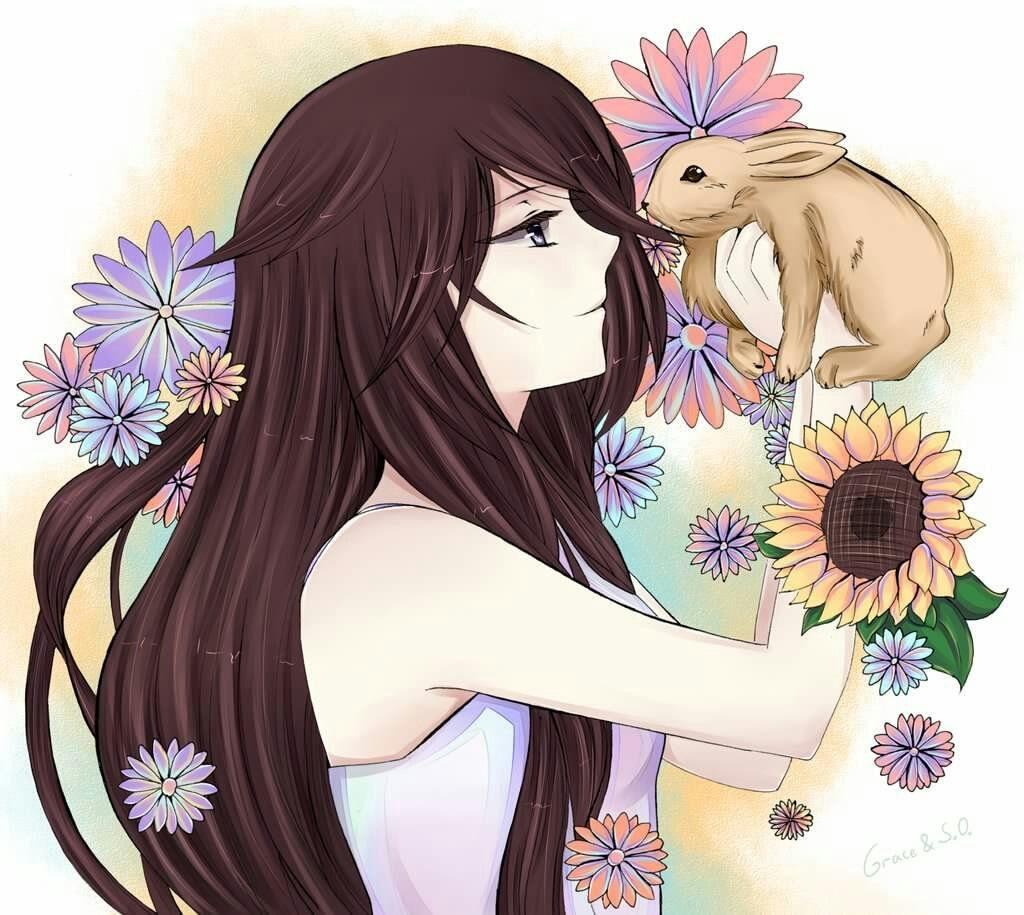 Красивые картинки девушки аниме с коричневыми волосами 10