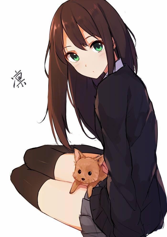 Красивые картинки девушки аниме с коричневыми волосами 18