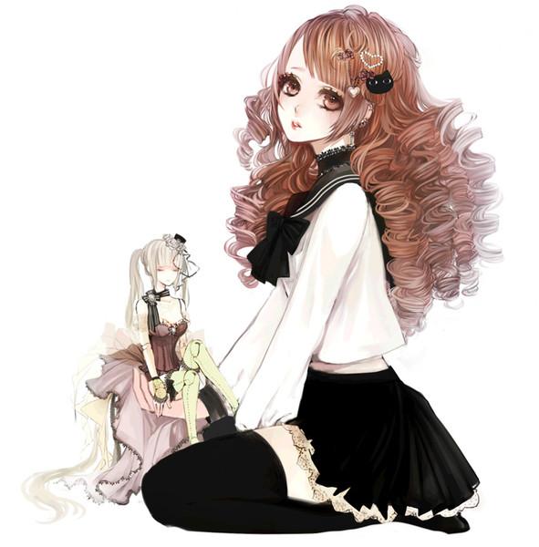 Красивые картинки девушки аниме с коричневыми волосами 7