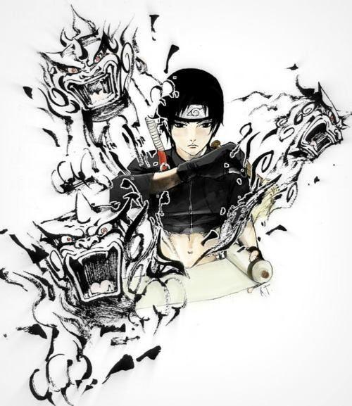 Крутые и классные картинки, арты Сай из Наруто аниме - подборка 4