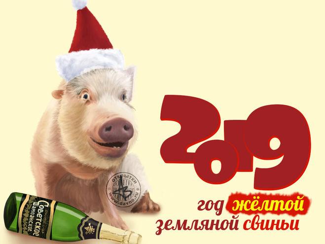Новогодние открытки 2019 с изображением свиньи - поздравления 10