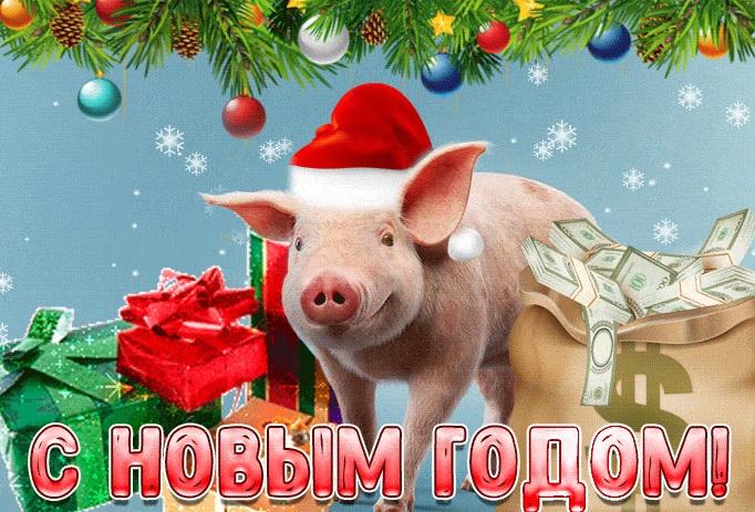 Новогодние открытки 2019 с изображением свиньи - поздравления 4